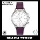 (100% Original) Citizen Ladies FB2000-11A Eco Drive Chandler Chronograph Purple Leather Strap Solar Watch