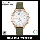 (100% Original) Citizen Ladies FB2008-01D Eco Drive Chandler Chronograph Olive Green Leather Strap Solar Watch