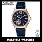 (100% Original) Citizen Ladies PC1003-15L Automatic Open Heart Sapphire Glass Swarovski Crystals Blue Leather Strap Watch