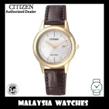 (100% Original) Citizen Ladies FE1083-02A Eco Drive White Dial Date Brown Leather Solar Watch