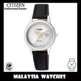 (100% Original) Citizen Ladies FE1086-12A Eco Drive Silver White Dial Date Black Leather Solar Watch