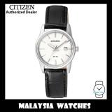 (100% Original) Citizen Ladies EU6000-06A Dress Quartz White Dial Black Leather Strap Watch