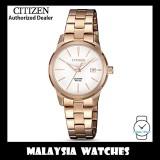 (100% Original) Citizen Ladies EU6073-53A Elegant Quartz White Dial Rose Gold-Tone Stainless Steel Watch