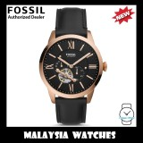 (OFFICIAL WARRANTY) Fossil Men's Mechanical ME3170 Townsman Automatic Black Leather Strap Watch