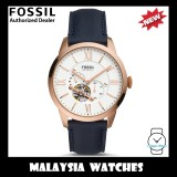 (OFFICIAL WARRANTY) Fossil Men's Mechanical ME3171 Townsman Automatic Navy Leather Strap Watch