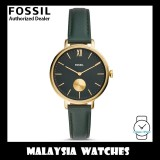 (OFFICIAL WARRANTY) Fossil Women's ES4662 Kalya Three-Hand Dark Green Leather Watch