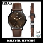 (OFFICIAL WARRANTY) Fossil Men's FS5557SET Minimalist Three-Hand Brown Leather Watch and Bracelet Box Set (2 Years Fossil Warranty)