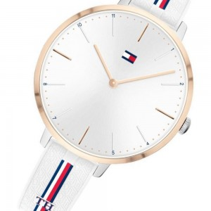 (100% Original) Tommy Hilfiger Ladies 1782156 Alexa Analogue Casual White Silicone Watch (2 Years International Warranty)