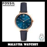 (OFFICIAL WARRANTY) Fossil Women's ES4663 Kalya Three-Hand Navy Leather Watch (TWO Years Fossil Warranty)