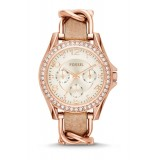 Fossil ES3466 Riley Multifunction Rose-Tone & Sand Leather Watch