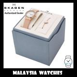 (100% Original) Skagen Ladies Freja SKW1113 Two-Hand Pink Leather Watch + Bracelet Box Set (2 Years International Warranty)