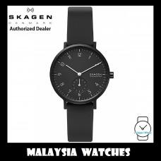(100% Original) Skagen Unisex SKW2801 Aaren Kulør Analogue Quartz Black Silicone Watch (2 Years International Warranty)