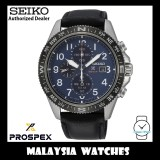 (NEW) Seiko Prospex Land SSC737P1 Solar Diver's 200M Chronograph Black Calf Leather Strap Watch