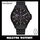 (100% Original) Tommy Hilfiger Shawn 1791611 Multi-function Black Steel Men's Watch (2 Years International Warranty)