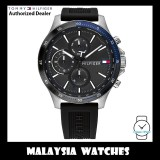 (100% Original) Tommy Hilfiger Bank 1791724 Black Silicone Men's Multifunction Watch (2 Years International Warranty)