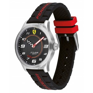 (100% Original) Scuderia Ferrari 0870043 Kid's Pitlane Stainless Steel Watch Silicone Strap & Cast Car Gift Set (2 Years Warranty)