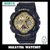 (OFFICIAL WARRANTY) Casio Baby-G BA-130-1A3 Standard Analog-Digital Black & Gold Resin Watch BA130-1A3 BA130-1A3DR BA-130-1A3DR