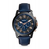 Fossil FS5061 Grant Chronograph Leather Watch (Navy)
