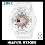 (OFFICIAL WARRANTY) Casio Baby-G BA-110RG-7A Pink Gold Index Standard Analog-Digital White Resin Watch BA110RG BA110RG-7A BA-110RG-7ADR