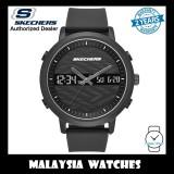 (OFFICIAL WARRANTY) Skechers SR5071 Men's Lawndale Quartz Analog Digital Metal Case Black Silicone Strap Watch (2 Years Warranty)
