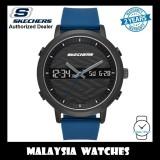 (OFFICIAL WARRANTY) Skechers SR5072 Men's Lawndale Quartz Analog Digital Metal Case Blue Silicone Strap Watch (2 Years Warranty)