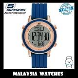 (OFFICIAL WARRANTY) Skechers SR6010 Women's Westport Digital Rose Gold-Tone Steel Case Blue Silicone Strap Watch (2 Years Warranty)
