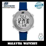 (OFFICIAL WARRANTY) Skechers SR6067 Magnolia Women's Quartz Digital Blue Silicone Strap Watch (2 Years Warranty)
