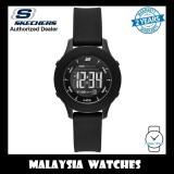 (OFFICIAL WARRANTY) Skechers SR6141 Women's Rosencrans Quartz Digital Black Plastic Case Silicone Sports Watch (2 Years Warranty)