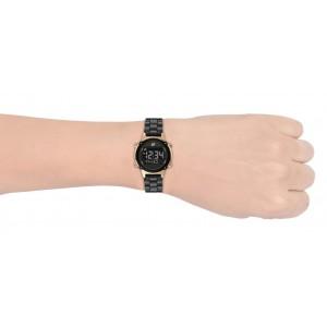 (OFFICIAL WARRANTY) Skechers SR6175 Women's Hollyglen Quartz Digital Black Metal Bracelet Watch (2 Years Warranty)
