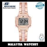 (OFFICIAL WARRANTY) Skechers SR6184 Women's Hollyglen Quartz Digital Rose Gold-Tone Metal Bracelet Watch (2 Years Warranty)