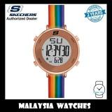 (OFFICIAL WARRANTY) Skechers SR6188 Magnolia Women's Quartz Digital Rose Gold-Tone Case Rainbow Silicone Strap Watch (2 Years Warranty)