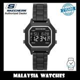 (OFFICIAL WARRANTY) Skechers SR6193 Faysmith Unisex / Women Retro Design Digital Black Metal Bracelet Watch (2 Years Warranty)