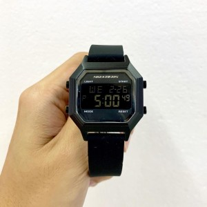 (OFFICIAL WARRANTY) Skechers SR6194 Faysmith Unisex / Women Retro Design Digital Black Silicone Strap Watch (2 Years Warranty)