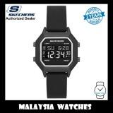 (OFFICIAL WARRANTY) Skechers SR6194 Faysmith Unisex/Woman Retro Design Digital Black Silicon Strap Watch (2 Years Warranty)