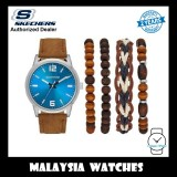 (OFFICIAL WARRANTY) Skechers SR9026 Combination Gift Set Quartz Analog Brown Leather Watch + Bracelets (2 Years Warranty)