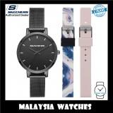 (OFFICIAL WARRANTY) Skechers SR9028 Women's Analog Quartz Black Mesh Bracelet Watch with 2 FREE Silicone Strap Gift Set (2 Years Warranty)