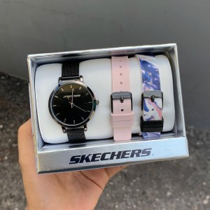 (OFFICIAL WARRANTY) Skechers SR9028 Women's Analog Quartz Black Mesh Bracelet Watch with 2 FREE Silicone Strap Gift Set (2 Years Warranty)