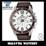 (OFFICIAL WARRANTY) Casio Edifice EFR-553L-7B Chronograph 100M White Dial Brown Leather Strap Men's Watch EFR553L EFR-553L-7BV EFR-553L-7BVUDF