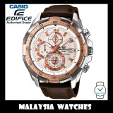 (OFFICIAL WARRANTY) Casio Edifice EFR-539L-7A Chronograph 100M White / Rose Gold Dial Brown Leather Strap Men's Watch EFR539L EFR-539L-7AV EFR-539L-7AVUDF