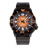 Seiko Monster Automatic SRP311K1 Gents Orange Dial Black Stainless Steel Diver's Watch (Black & Orange)
