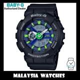 (OFFICIAL WARRANTY) Casio Baby-G BA-110PP-1A Analog Digital Neon Green Light Blue Dial Black Resin Watch BA110PP BA-110PP BA110PP-1A BA-110PP-1ADR