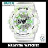 (OFFICIAL WARRANTY) Casio Baby-G BA-110TX-7A Mist Texture Scratch Pattern Analog Digital White / Green Resin Watch BA110TX BA-110TX BA110TX-7A BA-110TX-7ADR