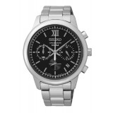 Seiko SSB139P1 Gents Chronograph Black Dial Stainless Steel Watch (Silver & Black)