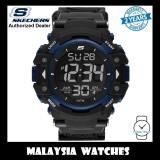 (OFFICIAL WARRANTY) Skechers Keats SR1035 Men's Large XL Size Digital Black & Blue Nylon Strap Sport Watch
