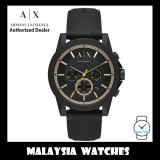 (100% Original) Armani Exchange AX1343 Outerbanks Chronograph Analog Black Dial Black Silicon Strap Men's Watch