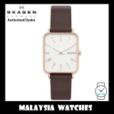 (100% Original) Skagen SKW6618 Ryle Analog Rectangle White Dial Two Hand Brown Leather Strap Men's Watch