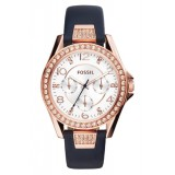 Fossil Women's ES3887 Riley Multifunction Blue Leather Watch (Blue & Rose Gold)