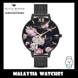 (OFFICIAL WARRANTY) Olivia Burton OB16AD35 Floral Black Dial & Black Case Black Stainless Steel Mesh Strap Ladies Watch