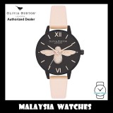 (OFFICIAL WARRANTY) Olivia Burton OB16AD40 After Dark 3D Bee Black Dial Nude Peach Leather Strap Ladies Watch