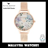 (OFFICIAL WARRANTY) Olivia Burton OB16BF27 Bejewelled Silver Glitter Floral Dial Rose Gold-Tone Stainless Steel Mesh Watch